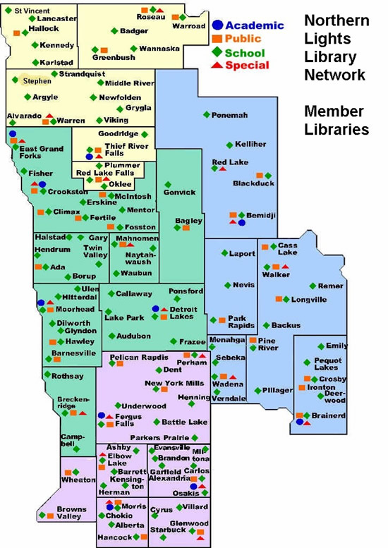 Northern Lights Library Network Membership Map